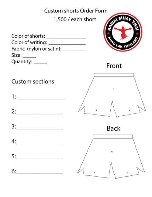 muay thai custom shorts order form